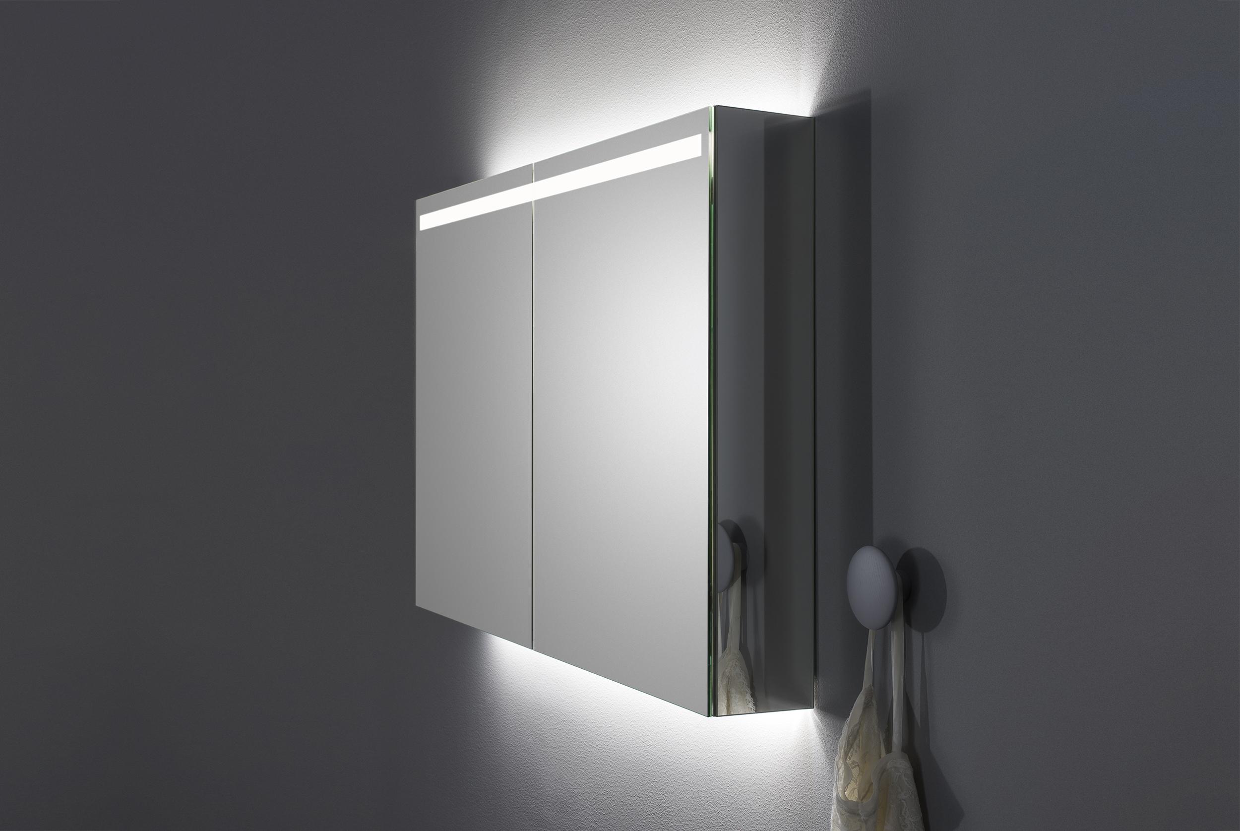 A80 spegelskåp med infälld ovanbelysning   aspen