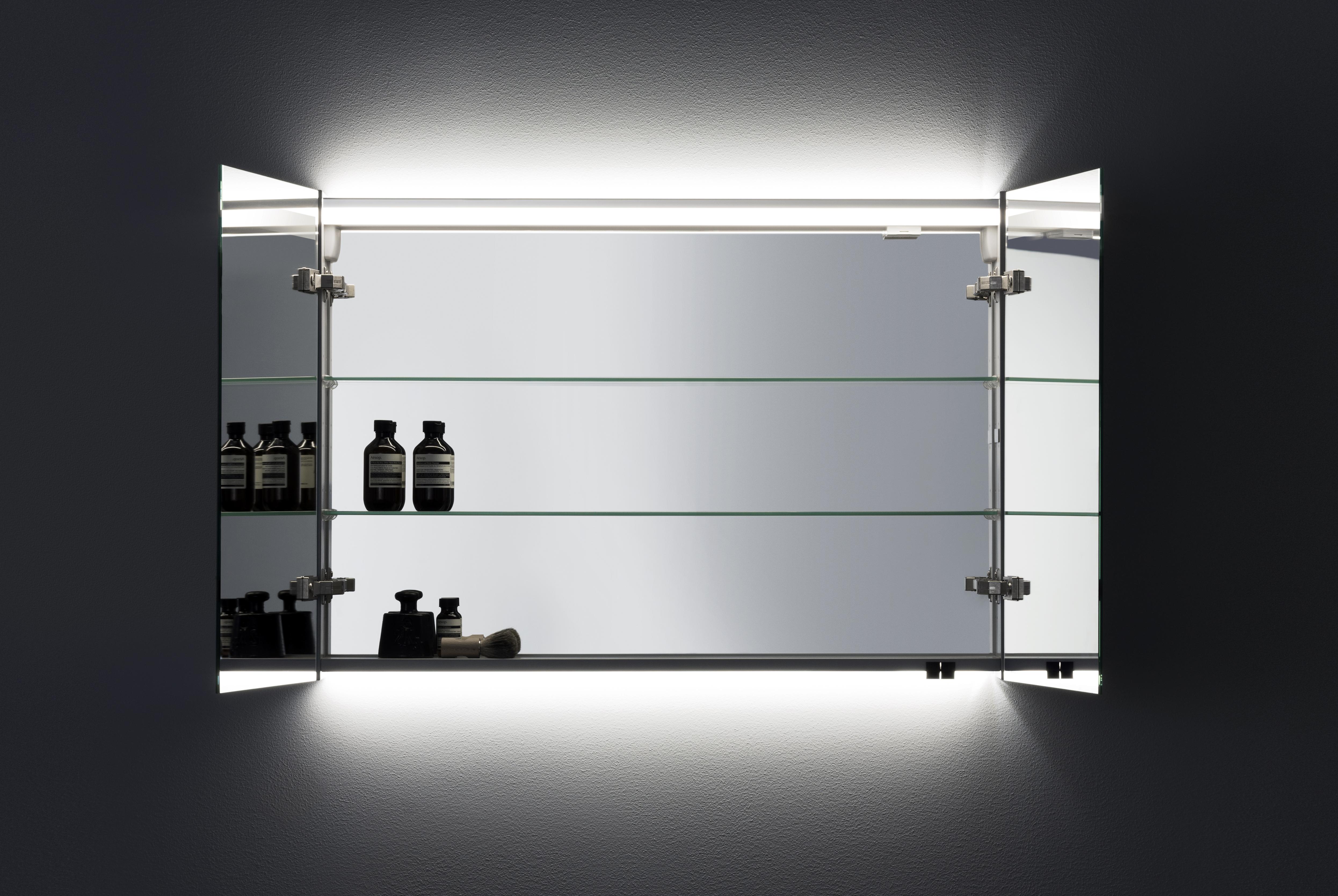 A80 Spegelskåp Med Infälld Ovanbelysning - Aspen