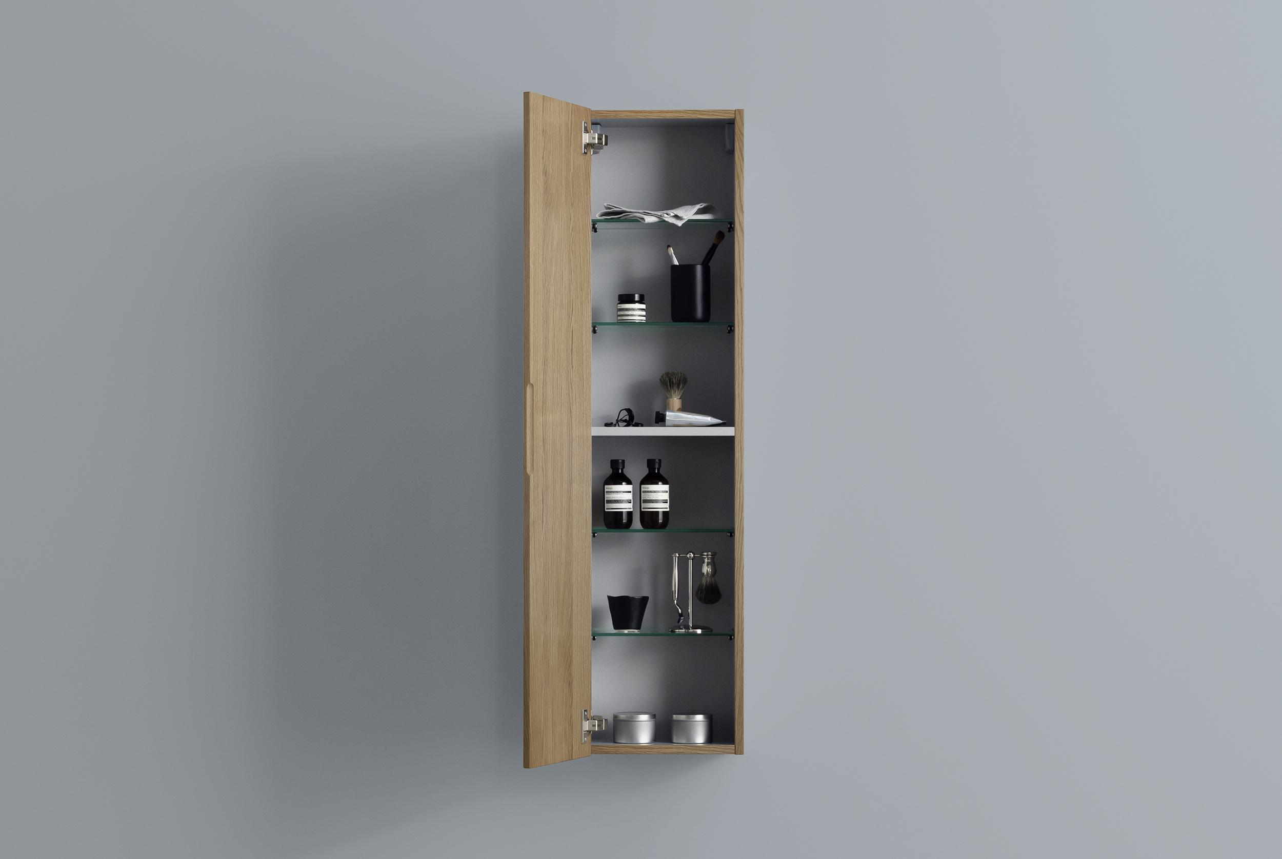 A väggskåp 300*1200, med hyllplan i glas & trä   aspen